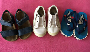 Boys Shoes Bundle X 3 Size 6 Infants (23) Casual Sandals Trainer White Summer.
