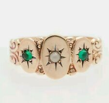 Victorian 1870's synthetic emeralds and natural pearl 14kt. gold band ring