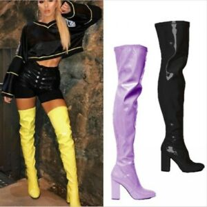 Custom-made Womens Block High Heel Patent Leather Over The Knee Thigh High Boots