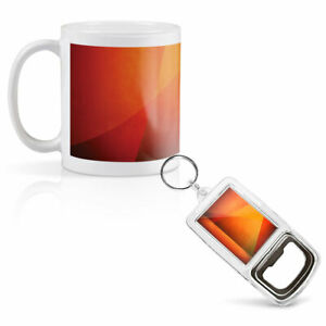 Mug & Bottle Opener-Keyring-set - Abstract Orange Shapes Art   #3810