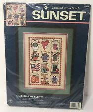 1996 Sunset 13630 Cross Stitch Kit Calendar Of Events Months of Year Sampler