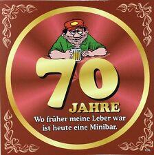 Aufkleber Flaschenetikett 70 Jahre mit witzigen Spruch Geburtstag Bierflasche