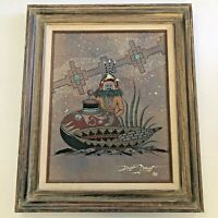 Vintage Navajo Sand Painting Signed Edwin Morgan 1986 Turquoise South West Art
