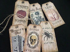 6 Halloween/Horror Themed Vintage Style Gift Tags