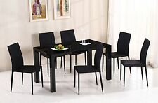 DINING TABLE AND CHAIRS IN WHITE OR BLACK NEW MODERN WITH 6 DINING CHAIRS RECT