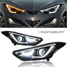 Led Drl Projector Headlights For 11-15 Hyundai Elantra (Fits: Hyundai Elantra)