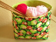 Wollekorb, Handarbeitskorb, Utensilo - mit Äpfeln 2