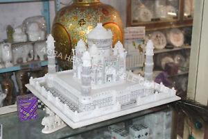 "24"" Exclusive Marble White Taj Mahal Handmade Statue Home Interior Decor H5751C"
