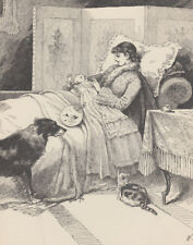 COLLIE DOG & CAT VICTORIAN MOTHER HOLDING BABY ANTIQUE PRINT 1889