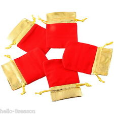 25Pcs 7x9cm Red Velvet Gold Trim Drawstring Jewelry Gift Bags Pouches HOT