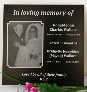 PERSONALISED MEMORIAL PLAQUE FUNERAL GRAVE MARKER LASER ENGRAVE YOUR PHOTO