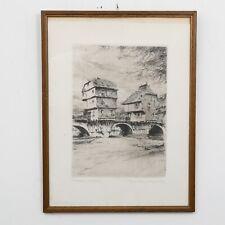 "Orig. Framed 1920 Paul Geissler Engraving Bad Kreuznach Bridge 12.75"" x 15.75"