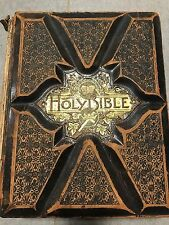 Antique 1800's Bible Pictorial Family Bible Heavily Illustrated