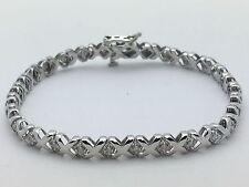 "New 10K White Gold 6.75"" Tennis X Link Bracelet with Round Diamonds 7.6 g, 5 mm"