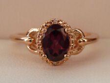 Petite Rhodolite Garnet & Diamond Accent Halo Buckle Ring- 10K Rose Gold Size 7