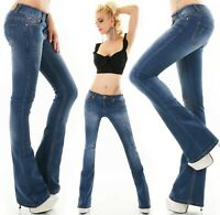 Mujer Boot-Cut Vaqueros Recortado Flarecut Stretch Denim Bell Bottom XS S M L XL