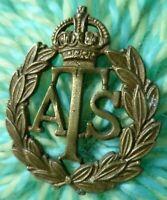 AUXILIARY TERRITORIAL SERVICE CAP BADGE KC ATS BRASS NO SLIDER ANTIQUE ORIGINAL