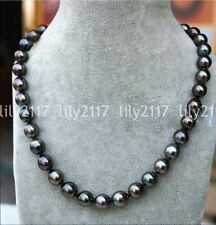 "Fashion Women's Genuine 8-9mm Tahitian Black Natural Pearl Gems Necklace 18"" AAA"