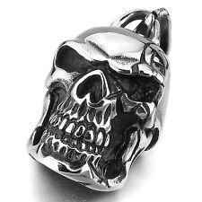 MENDINO Men's 316L Stainless Steel Pendant Chain Necklace Tribal Skull Gothic