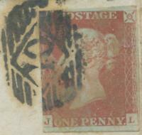 "GB QV LE 1d red unplated 3 margins (JL) very fine piece with LONDON numeral ""10"""