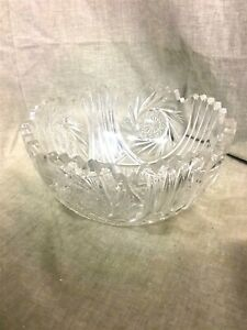 """Lovely 8"""" American Brilliant Cut Glass Bowl Pin Wheel Cut Unmarked"""