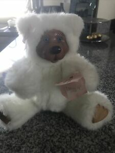 Robert Raines Wood Faced Plush Bear Jointed White Pink Bow New Tag