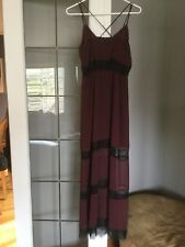 NWT Women's H&M Chiffon Lace Dress Sz.6 NEW Burgundy/Black Party Formal Prom