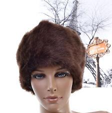 CHAPKA Femme BONNET CHAPEAU FAUSSE FOURRURE First Quality Douce marron VISON