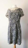 NW3 Ditsy Floral Navy Silk Dress UK 14 Semi Sheer Hobbs Tea Cream Short Sleeve