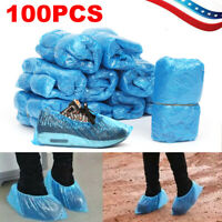 100 Pcs Disposable Plastic Shoe Covers Cleaning Overshoes Protective Dustproof