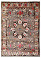 "Neutral Heriz Serapi 5'7"" x 7'10"" Hand Knotted Persian Silk & Wool Area Rugs"