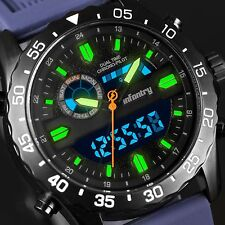 INFANTRY Mens Digital Quartz Wrist Watch Date Day Stopwatch Blue Rubber Military