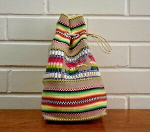 Vintage 60s Drawstring Bag Pouch Tribal Stripe Woven Embroidered Makeup Bag