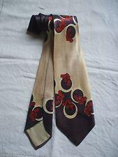 Wide Tie Dark Purple & Beige Abstract w/ Burnt Orange Flowers