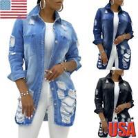 Women Denim Jacket Long Jean Coats Ladies Biker Hip Hop Ripped Distress Outwear