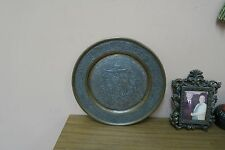 """Vintage Etched Copper Islamic Persian Persepolis Plate Engraved 11.5"""" Eagle"""