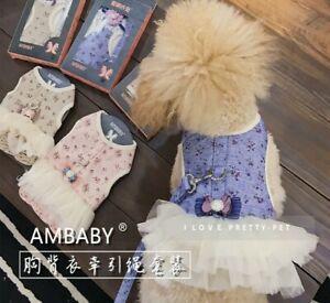 Ambaby Pet Accessory Small Medium Dog Dress Skirt Harness Vest Match With Leash
