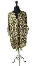 CHARTER CLUB WOMAN  Womens V Neck Leopard Print Roll Up Sleeve Top Shirt Size 3X