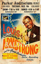 LOUIS ARMSTRONG - HIGH QUALITY EARLY VINTAGE RARE 1941 CONCERT POSTER