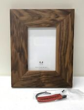 """NEW Pottery Barn Walnut Wood Gallery 4 x 6"""" Picture Frame w/Optional Hook"""