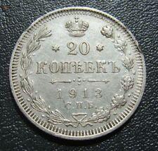 #7 Russia Empire Silver Coin Russland 20 KOPEK 1913 SPB VS SILBER Munze Silver