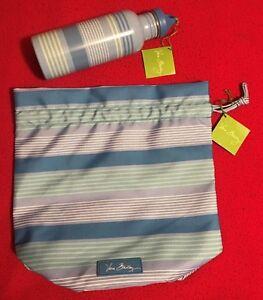 Vera Bradley Blue Tonal Stripe Lighten Up Ditty Bag & Water Bottle - NWT