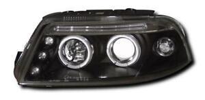 VW PASSAT B5 FACELIFT 2000-2004 BLACK ANGEL EYE HEADLIGHT LAMPS