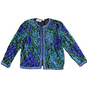 Vtg Lawrence Kazar Jacket size PS Peacock Sequined Purple Blue Beaded Silk