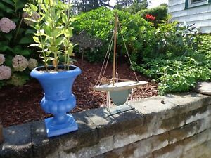 Old wood pondboat  21 inches /toy sailboat  Sail On