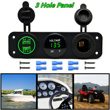 Car Boat Dual USB Charger+ Voltmeter +12V Cigarette Lighter Outlet Socket Panel