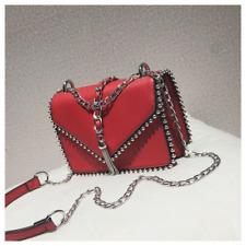 Fashion Square Women's Designer Handbag Leather Rivet Tassel Chain Shoulder Bag