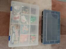 2 Plastic Craft Storage Compartmentalized Boxes 1 With Embellishments 1 Empty