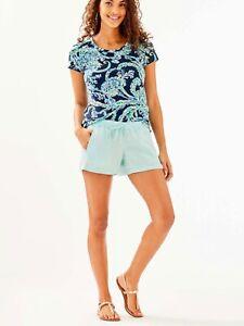 "Lilly Pulitzer NWT 4"" Baybreeze Linen Shorts Whisper Blue Size XXS,XS,S"