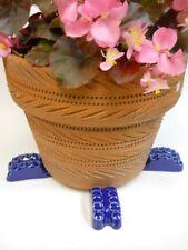 "POT FEET Ceramic Flower Planter Risers ""Ridged"" Design Royal Blue set of 4"